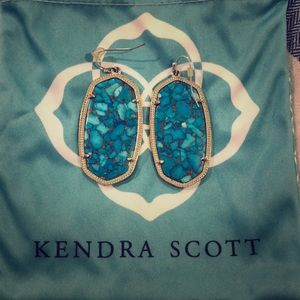 Kendra Scott Danielle In Bronze Veined Turquoise
